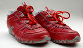 A pair of red running shoes